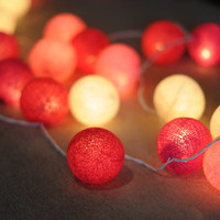 Pink shaded color tone string light cotton ball cute sweet look party wedding night party decoration