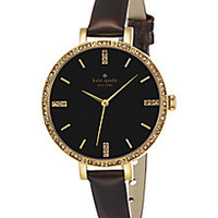 Kate Spade New York - Metro Skinny Pavé Goldtone Stainless Steel & Metallic Leather Strap Watch - Saks Fifth Avenue Mobile