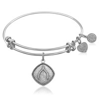 Expandable Bangle in White Tone Brass with Wishbone Symbol
