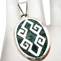 Mexican Green Mosaic Turquoise Pendant Sterling Silver Slide Necklace Vintage