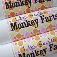 Monkey Farts - Lip Balm - Natural - Vegan -  No sweeteners - Bath and Beauty - Fruit Flavor - Strawberry Banana  Bubblegum