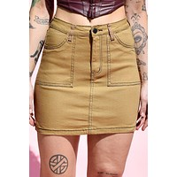 Coming or Going Contrast Stitch Skirt - Timber