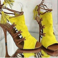 Suede Peep Toe Strappy Ankle Sandals