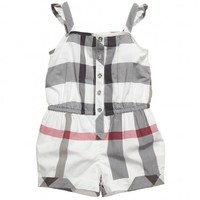 Girls Ivory Checked Cotton Playsuit
