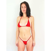 Red Extreme Micro O-Ring Triangle Top & Thong G-String Bottom Set (Many colors available)
