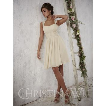 Christina Wu 22697 Tank Chiffon Knee Length Bridesmaid Dress