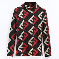 Fendi Autumn And Winter New Fashion More Letter Print Keep Warm Long Sleeve Top Sweater Women