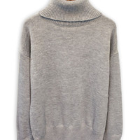 Gray Roll Neck Long Sleeve Loose Sweater
