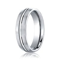 Benchmark Cobalt Chrome Comfort Fit 6 MM Wedding Band with Satin Finish on Edges