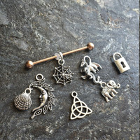 ROSE Gold Plated Industrial Barbell Scaffold Piercing 14G