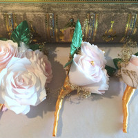 Blush paper Peony boutonniere and corsage with gold baby's breath and ribbon, Made in your choice of colors, Prom boutonniere and corsage