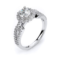 Sterling Silver Rhodium Plated and 6mm round CZ center stone Engagement Ring: Rings
