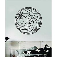 Surf Beach Circle V3 Decal Sticker Wall Vinyl Art Home Room Decor Bedroom Sports Quote Surfing Ocean Waves Good Vibes