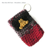 Hand crocheted Key chain pouch in Red , Gray and Black with Cat Button - Item #20151002