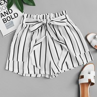 Frill Trim Tie Waist Striped Shorts