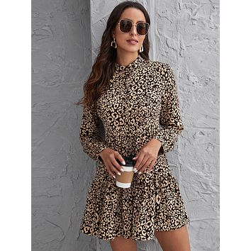 Mock Neck Button Front Ruffle Hem Leopard Dress