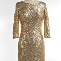 """""""Bling"""" Gold Sequin Cocktail Dress"""