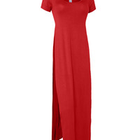 LE3NO Womens Maxi Shirt Dress with High Side Slit (CLEARANCE)