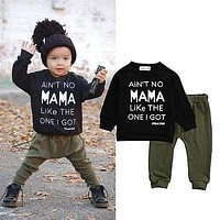 2pcs!!Newborn Toddler Infant Kid Baby Boy Autumn Winter Clothes Letter Long Sleeve T-shirt Tee+Long Pants Outfits Set 0-3Y