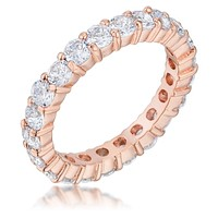 Elizabeth Clear Eternity Stackable Rose Gold Ring   4ct