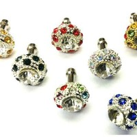 D & K Exclusives - 7 pieces Beautiful Multicolor Bling Crystal 3.5mm Anti Dust Earphone Plug Stopper for Galaxy S3, S4, iPhone 4 5G 3G 4S, iPad 2 3 (The new iPad) and other 3.5mm earjacks