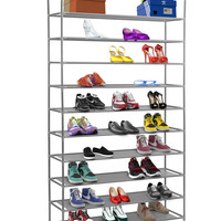 """Halter 10 Tier Stainless Steel Shoe Rack / Shoe Storage Stackable Shelves - Holds 50 Pairs Of Shoes - 39.125"""" X 11.125"""" X 69.5"""" - Gray"""