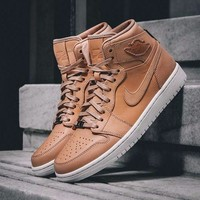 Best Online Sale Air Jordan 1 Pinnacle AJ 30th Anniversary Apricot 24K Basketball Shoes 705075-201