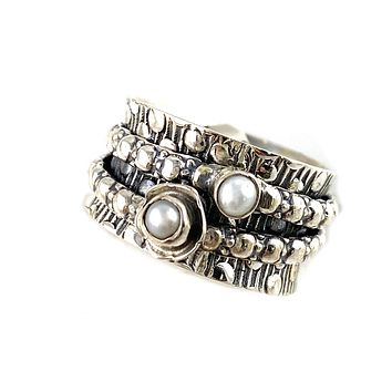 Spinner Ring - Sterling Silver Pearl