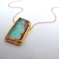 Handmade 22k Gold Edged Chrysoprase & 14k Gold or Sterling Silver Chain Adjustable Pendant Necklace; Gift for Her; Turquiose Color Stone