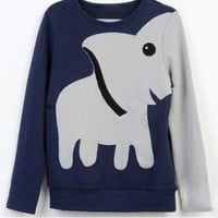 ELEPHANT PATTERN LONG-SLEEVED PULLOVER SWEATER LEISURE (M)