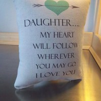 Pillow daughter gift from parents canvas throw pillow home decor