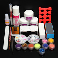 Powder Liquid Glitter Strip Nail Art UV Gel Tips Set