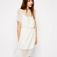 ASOS   ASOS Pretty Midi Skater Dress with Lace and Embroidered Detail at ASOS