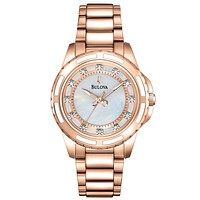Bulova Diamond Ladies Watch - Mother-of-Pearl - Rose Gold-Tone - Bracelet