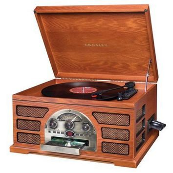 Crosley CR66 Rochester 5 in 1 Entertainment Center with auxiliary input, AM/FM Radio, tape, CD Player