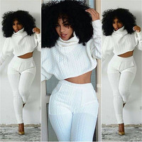 High Neck Bat-wing Sleeves Blouse Skinny Pant Two Pieces Set