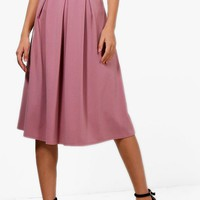 Beau Box Pleat Midi Skirt | Boohoo