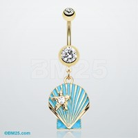 Ariel's Shell Dangle Belly Button Ring
