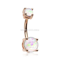 Rose Gold Opal Sparkle Prong Set Belly Button Ring (White)