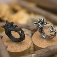 Vintage Cute Welsh Corgi Ring in your Choice of Gun Black Plated ♣ Antique Silver Plated ♣ Antique Bronze Plated