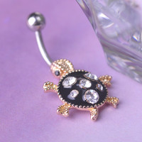 Surgical Steel Rhinestone Tortoise Piercing Belly Button Navel Ring