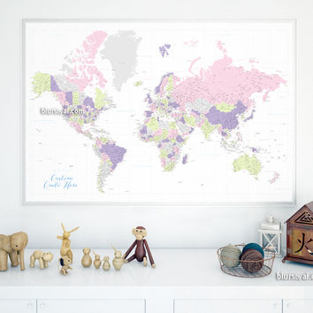 Custom quote - highly detailed world map printable with cities, capitals, countries, US States... labeled. Color combination: Eloise