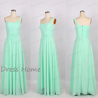 Mint Sweetheart One Shoulder Long Bridesmaid Dress Cheap/Sweet 16 Mint Prom Dress/Homecoming Dress/Wedding Party Dress DH206
