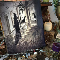 Art Print 8x10 from Original Painting Cat Girl Victorian Moon Witch Witchcraft Cat Halloween Gothic Folk Terri Foss