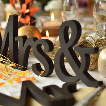 Mr. & Mrs. letters wedding table decoration, freestanding Mr and Mrs signs for sweetheart table