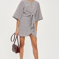 Prince Of Wales Checked Knot Mini Dress