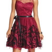 Morgan Juniors Dress, Sleeveless Embroidered Illusion A-Line - Juniors Dresses - Macy's