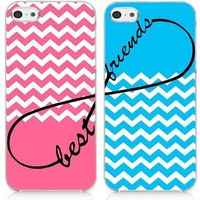 Pink Blue Chevron Infinity Sign Best Friends Set of Two (2) Case Cover For iphone 5 5S + Screen Protector + Touch Stylus + Diamond Dust Plug