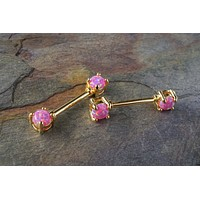 Pink Opal Nipple Bar Jewelry Barbell