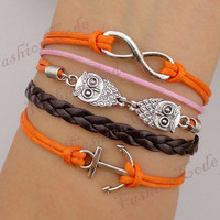 Infinity, Owls & Anchor Charm Bracelet-Silver, Wax Cords and Leather Braided Bracelet - Best Chosen gift